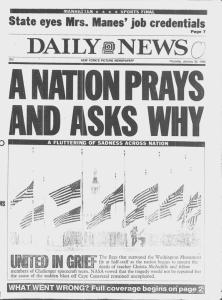 """A Nation Prays And Asks Why"" was the headline on the front page of The Daily News on January 30, 1986 regarding the explosion of the space shuttle Challenger."