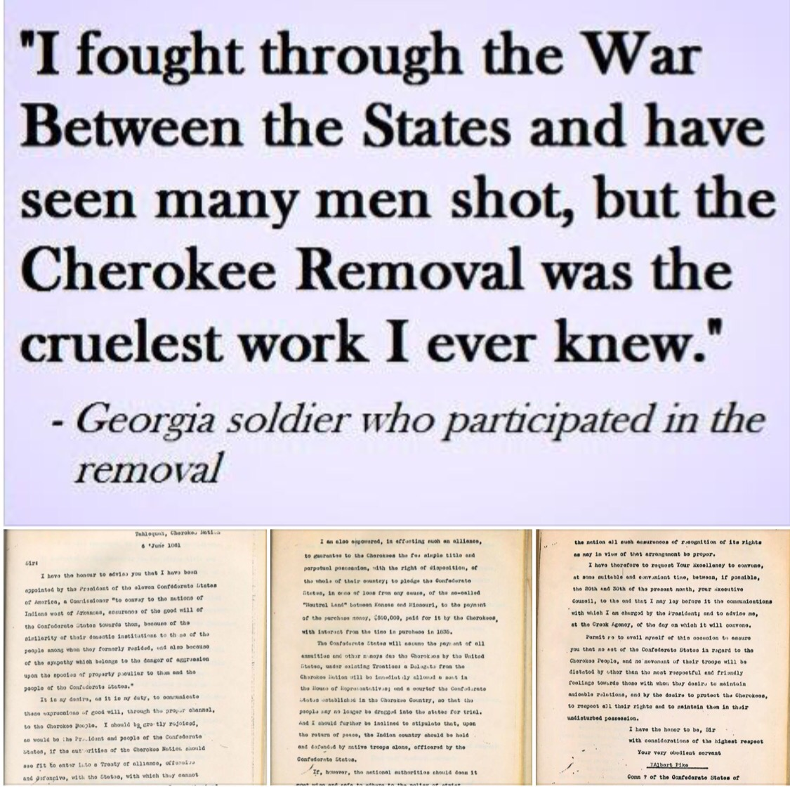 tahlequah june 6 1861 letters from albert pike to principle chief of the cherokee nation john ross these letters were left to me by my mother